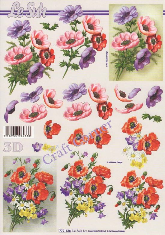 Anemone Flower Bouquets 3d Decoupage Sheet